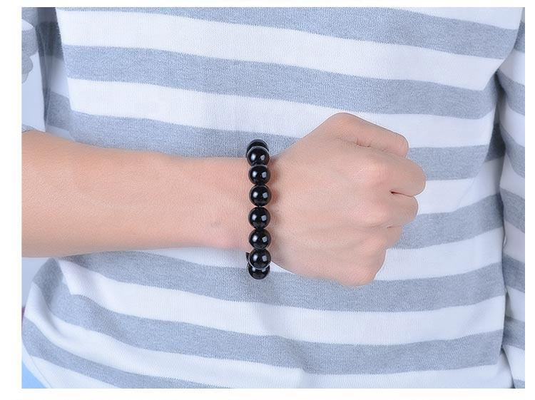 Fashion Men Black Woven Jade Beaded Wrap Bracelets