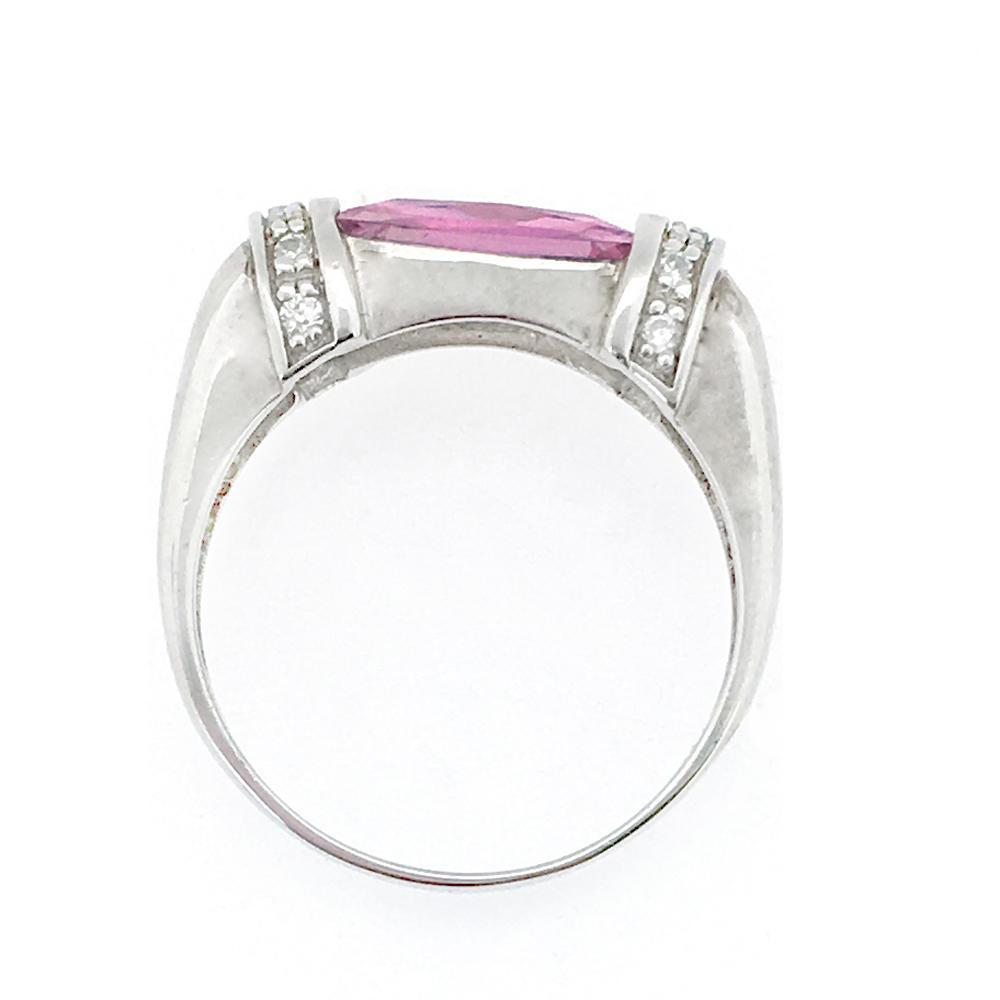 Fashion Tone Rectangle Pink Gemstone Silver Men Emerald Ring