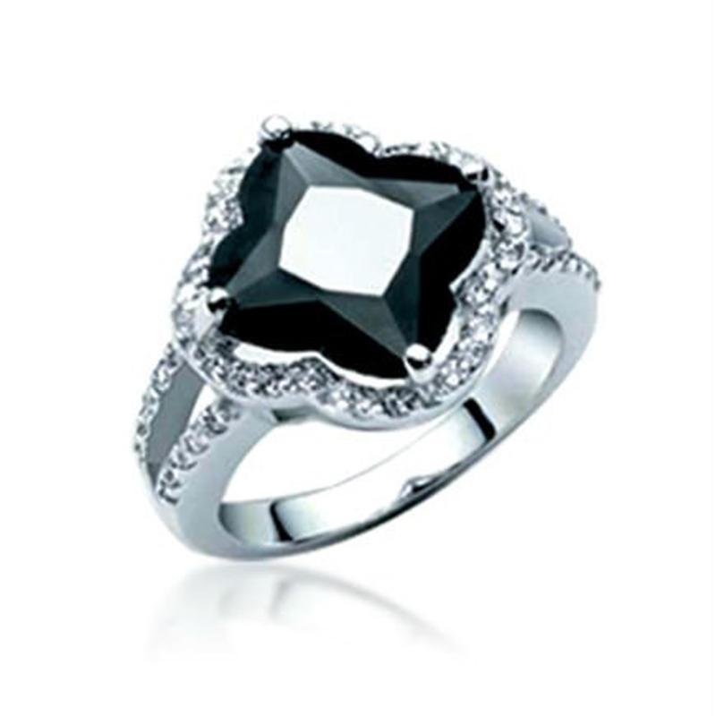 Customized design gemstone girls elegant black silver ring