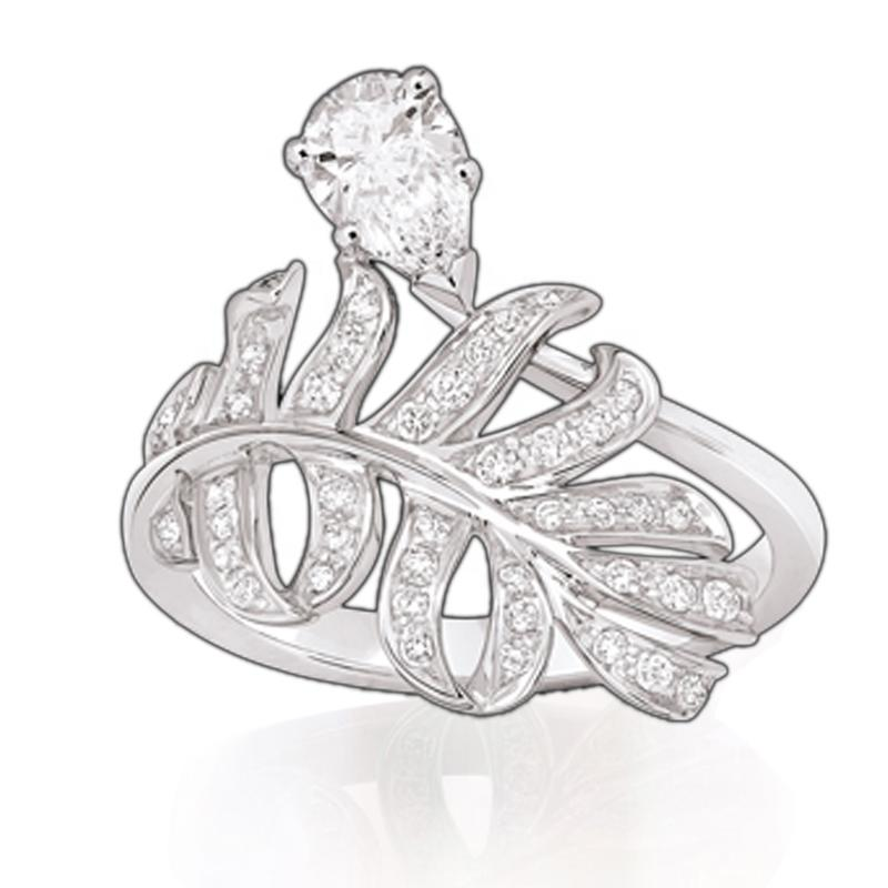 Rhodium Plated Silver Leaf Diamond Artificial Rings New Design