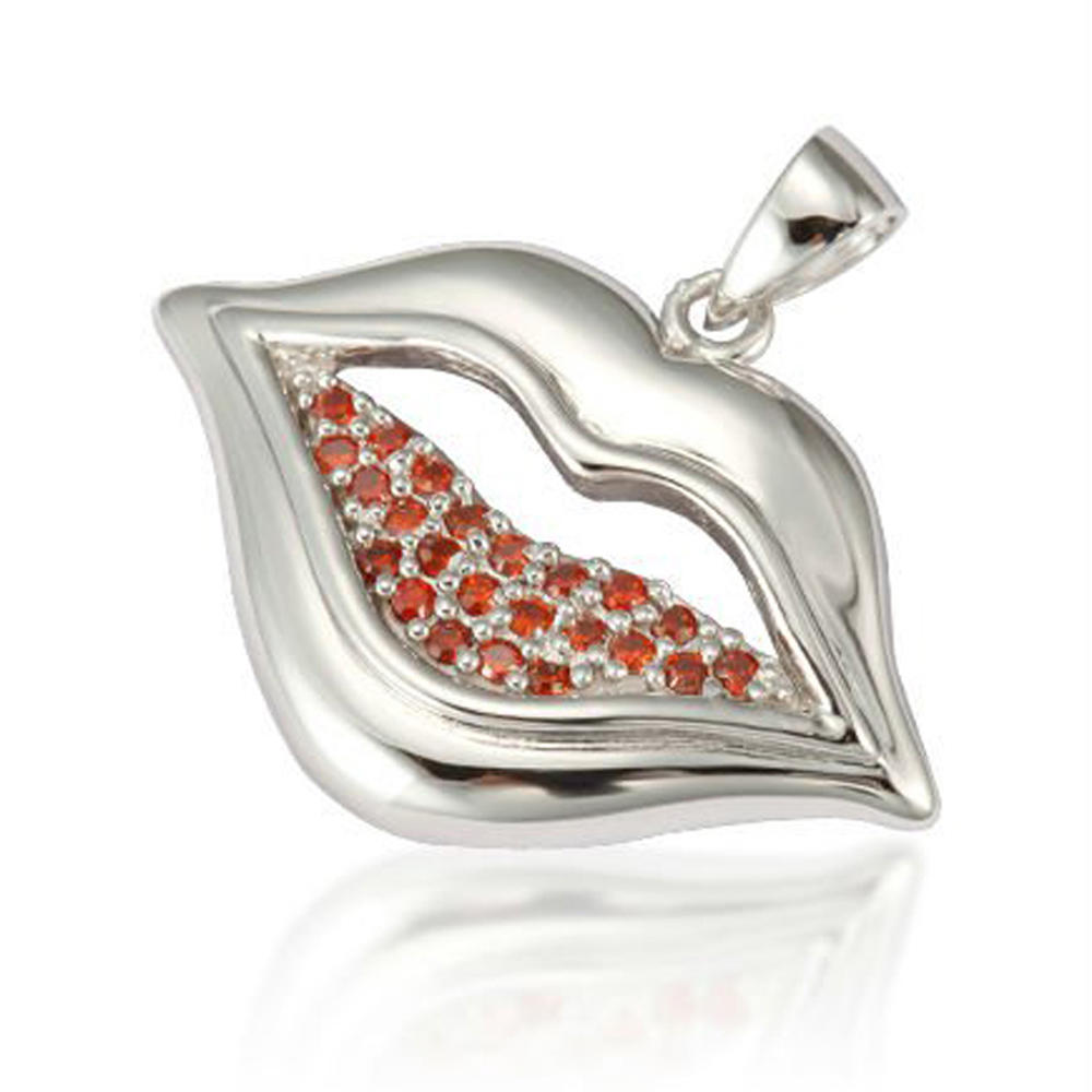 Double Color CZ Pave Setting Lip Shape Women Silver Pendant