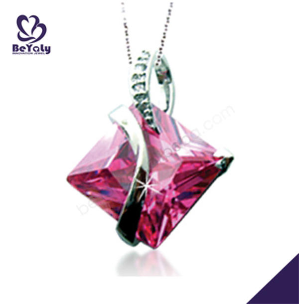 Romantic girls 925 silver charming pink large gemstone amethyst pendants
