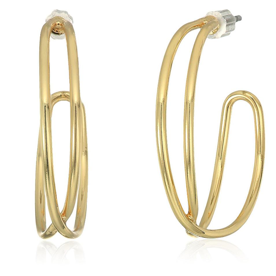 Graceful shiny silver bijoux women wear big clip earing