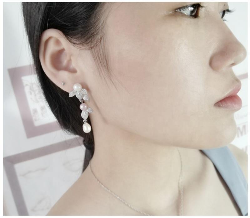 925 Silver Bijoux Wholesale White Pearl Stud For Women
