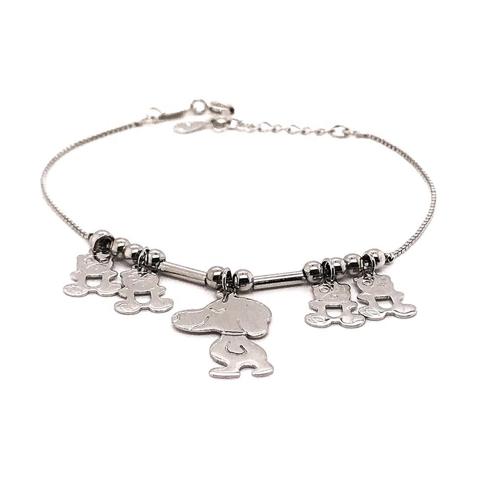 Handmade Cartoon Dog 925 Sterling Silver Jewellery Bracelets
