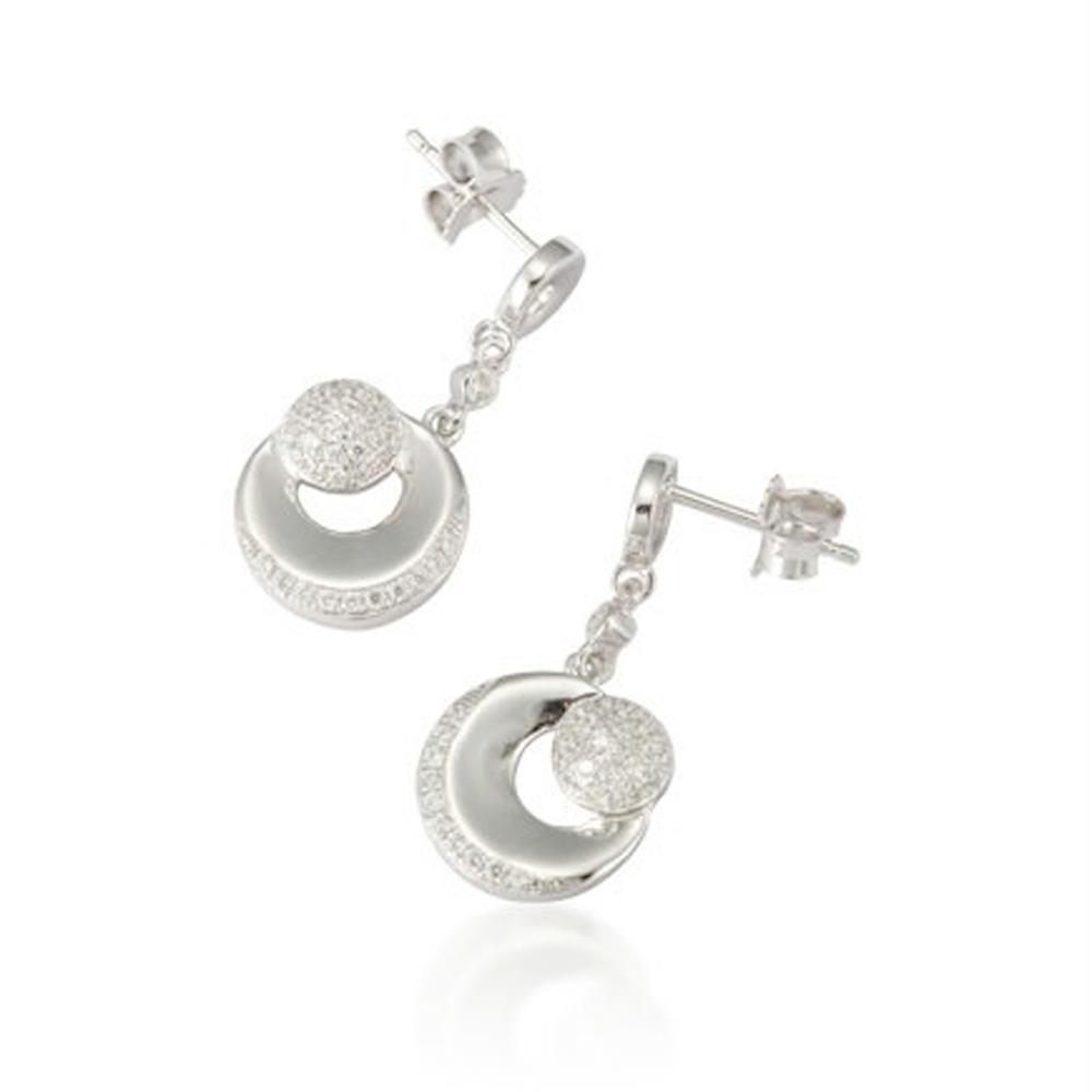 Lovely luxury tasteful fashion designer silver double c earrings
