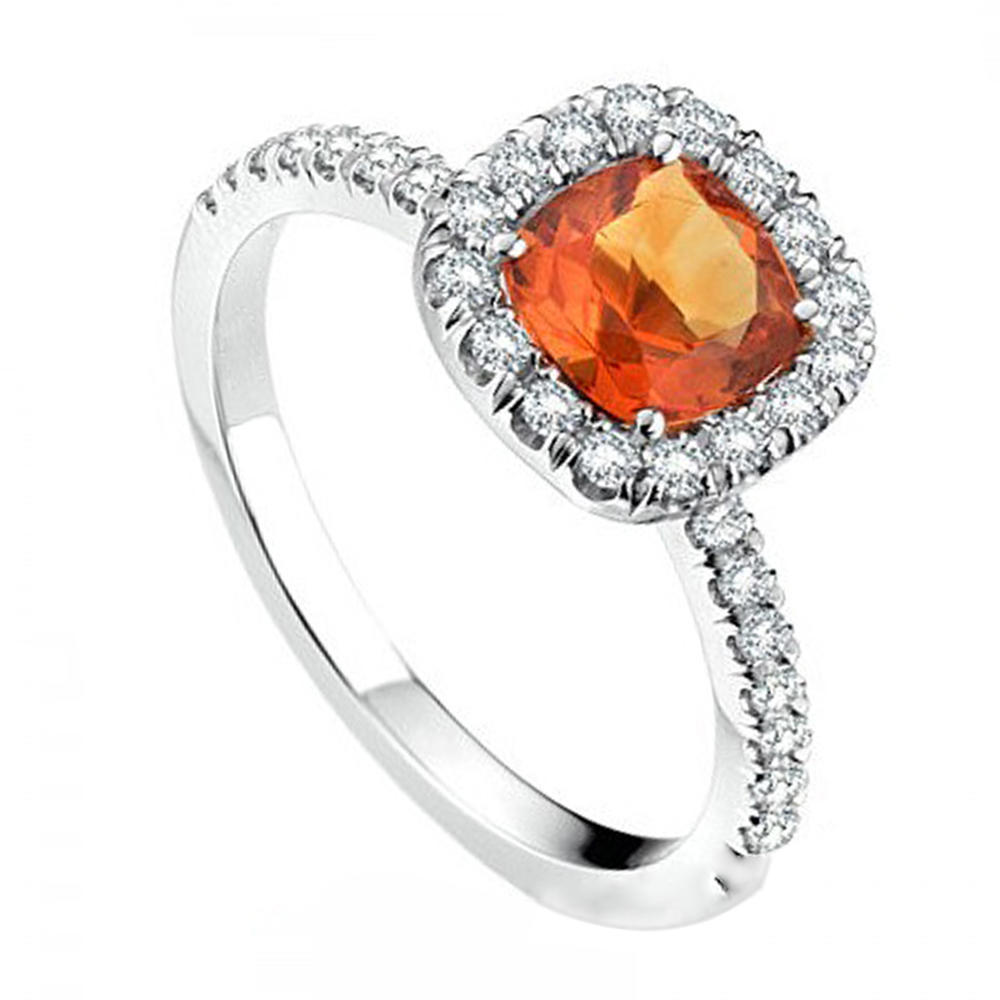 Custom orange zircon multi gemstone 925 sterling silver rings