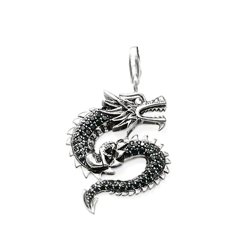 Dragon engraved fashion silver jewellery lariat necklace
