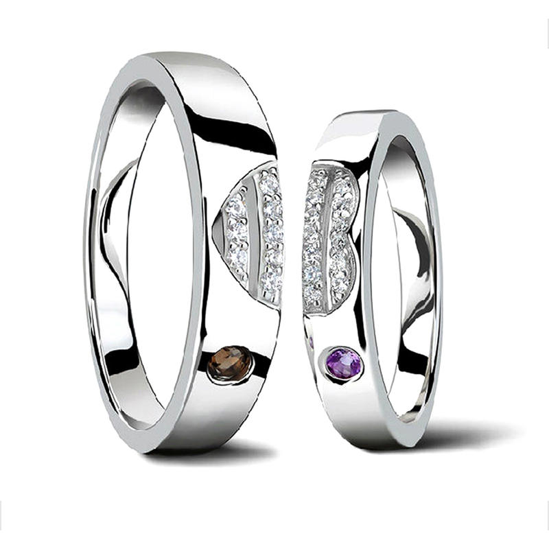 Beauty Heart Design Couple Anniversary Silver Solitaire Rings
