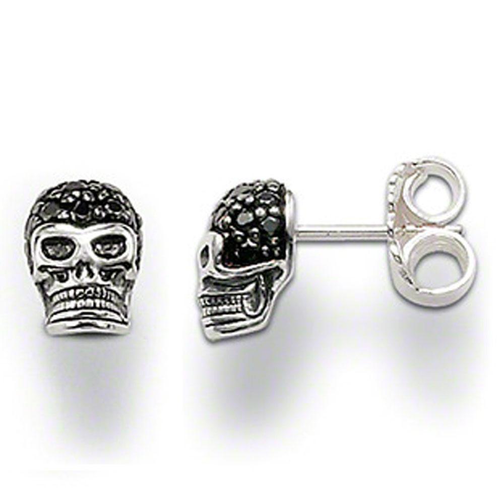 Graceful black onyx silver skull earrings for men