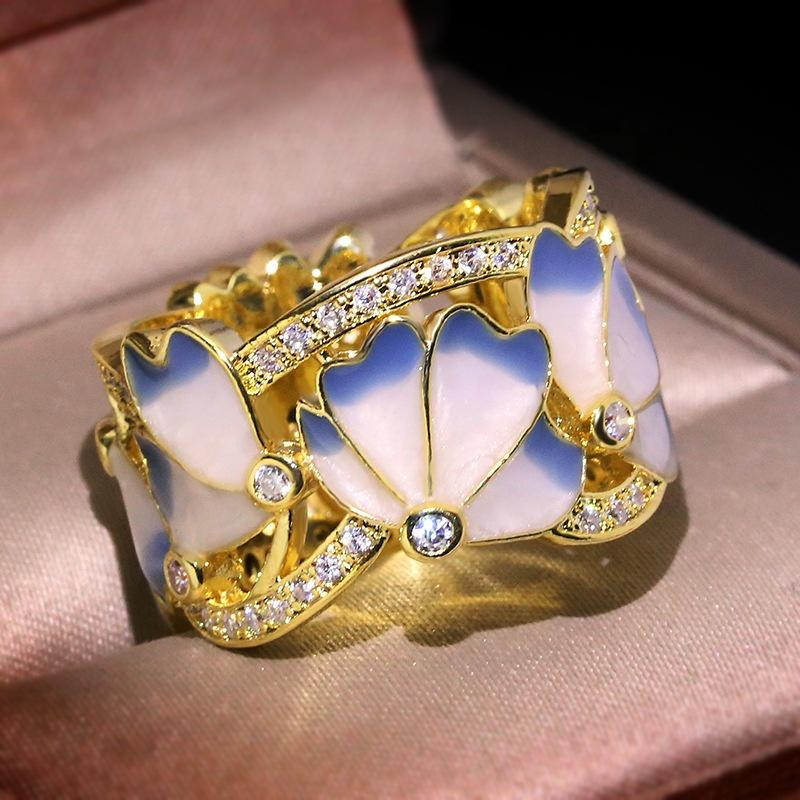 Cloisonne Enamel Blue And White Glue Butterfly Ring Gold Plated