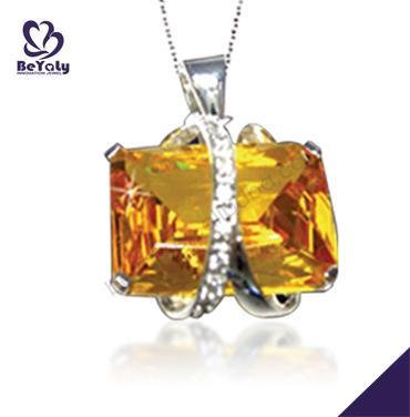 Yellow gemstone silver birthday gift autism necklace