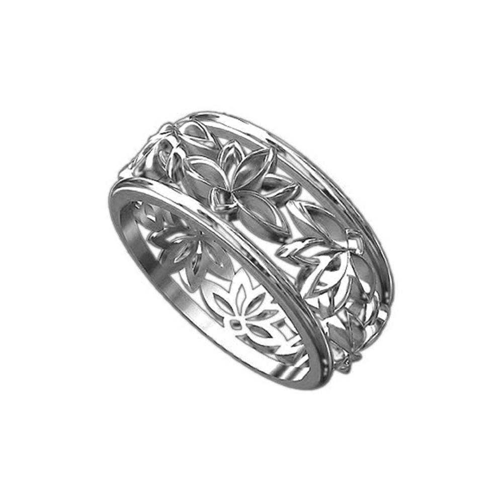 Custom 3D Free Design Lotus Flower Buddhist Symbol 925 Silver Ring
