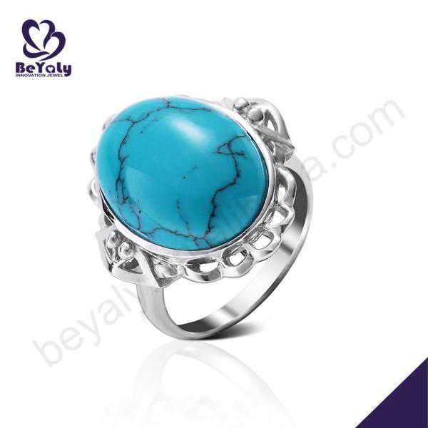 Wholesale elegant silver oval blue opal stones jewelry