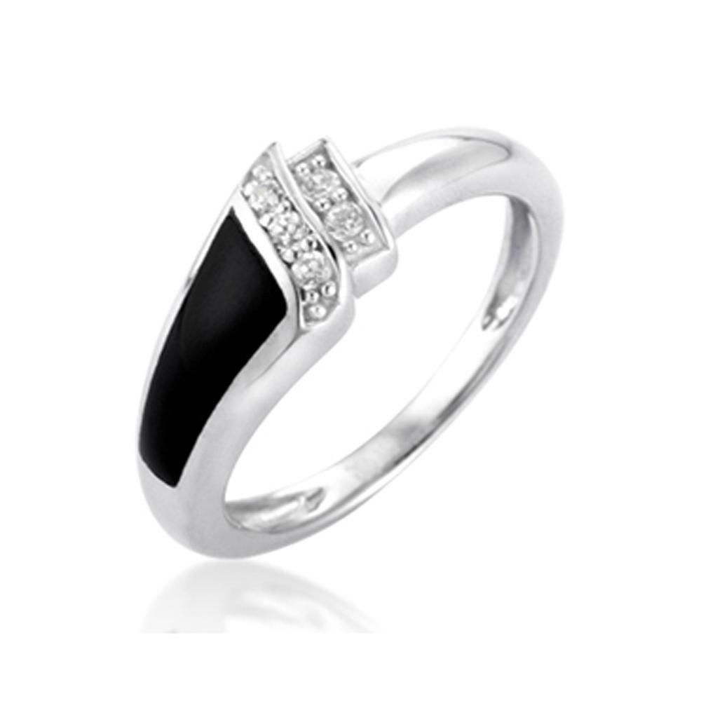 Black Enamel Cz Sterling Silver Cross Ring 925 In Guangzhou