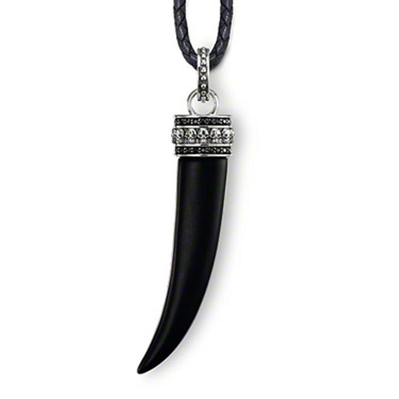 Black teeth shape silver jewelry set real flower pendant