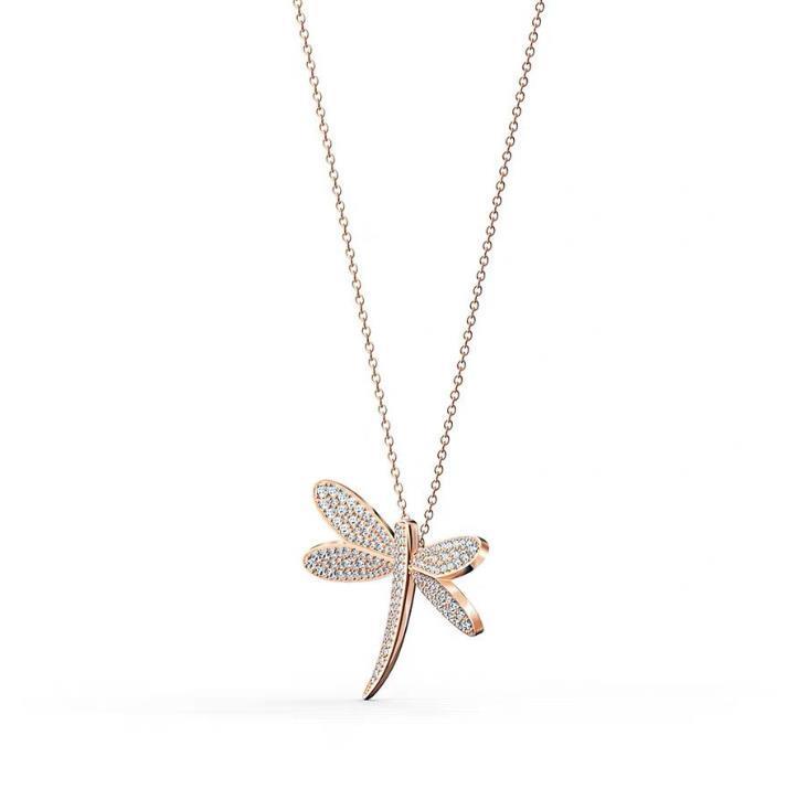 Brilliant Silver Dragonfly Design Agate Druzy Geode Pendant Necklace