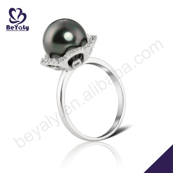 Flower design 925 sterling silver fashion black ring pearl
