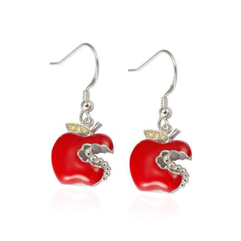 Fashion jewelry red enamel apple-shaped charm hot silver earring