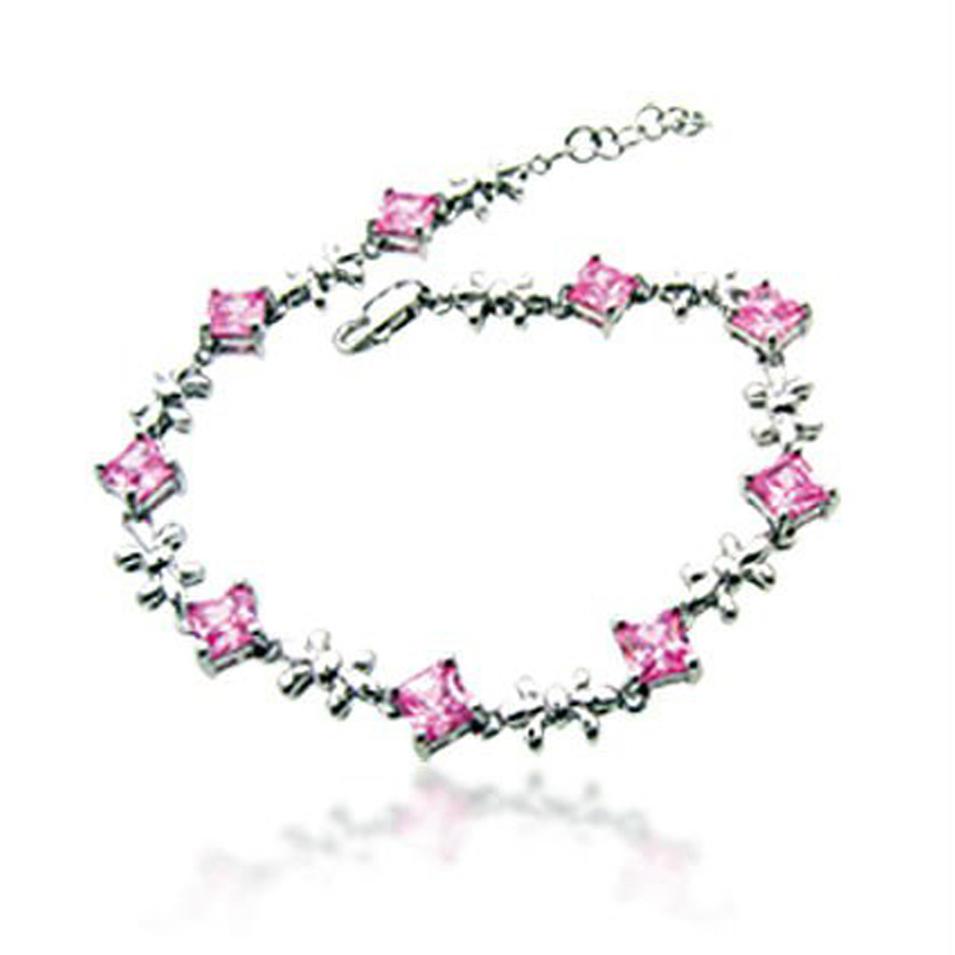 Elegant flower ring silver bracelet with smart pink gems for ladies
