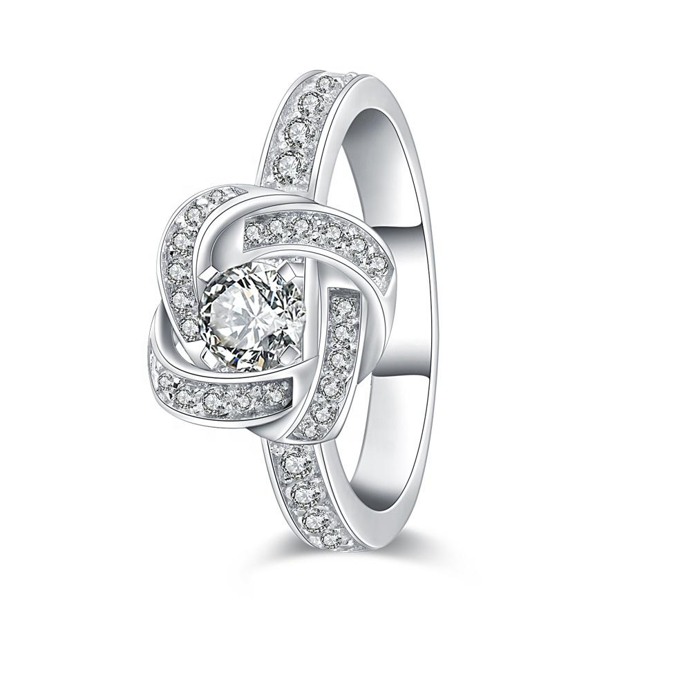 AAA CZ Knot Design Wedding Ring Pure Silver Jewelry Wholesale