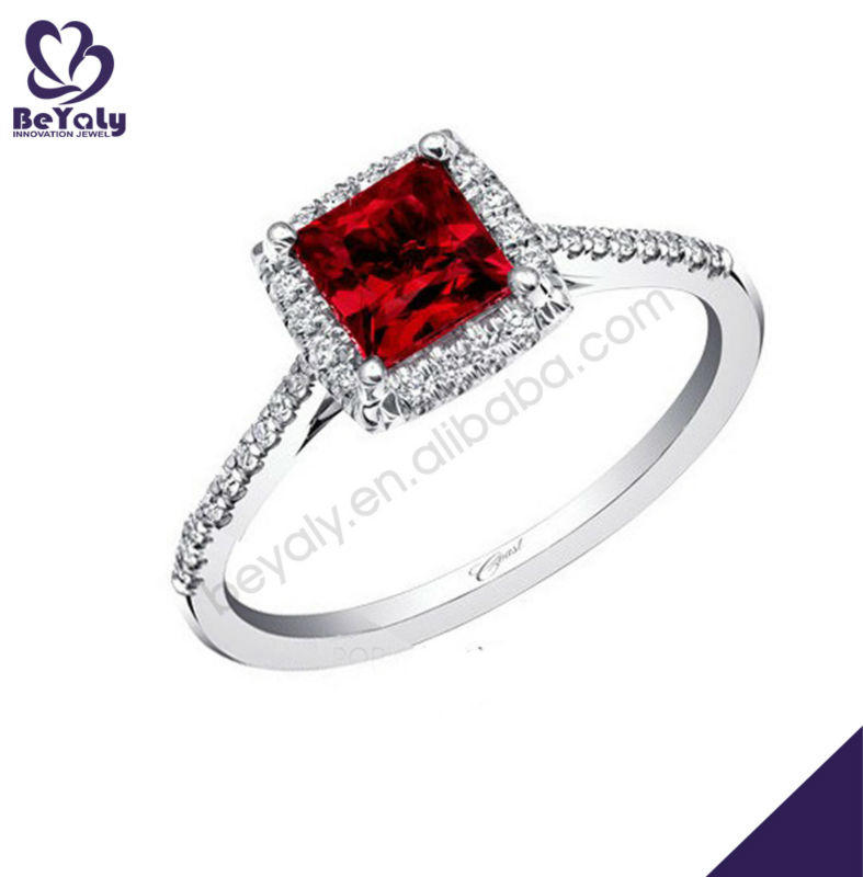 Charming square red gemstone silver agate druzy ring
