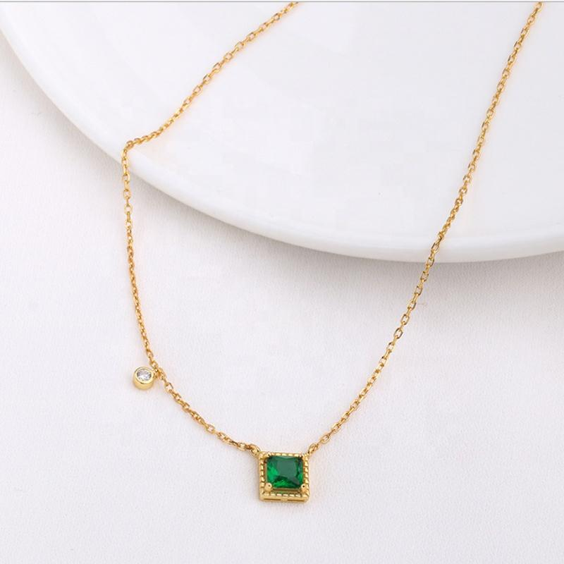 Simple and fashionable geometric cubic zirconia silver emerald turquoise pendants