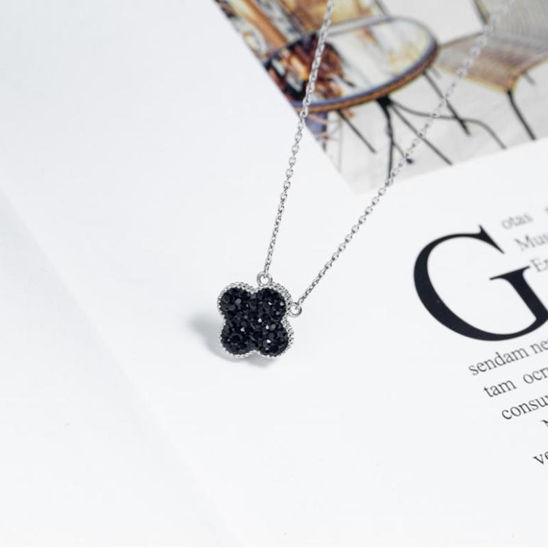 Sterling Silver Four-Leaf Clover Necklace, Black Obsidian Silver Four Leaf Clover Pendant