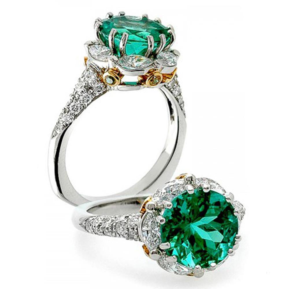 Flower Shape 925 Silver Green Emerald Fantasy Jewelry Ring