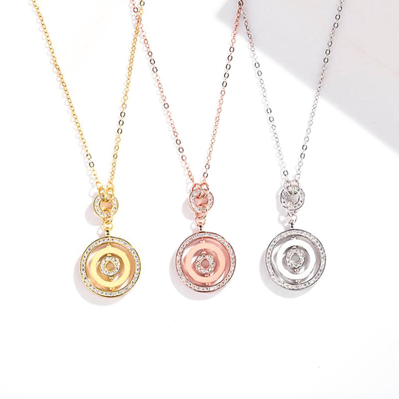 Good Luck S925 Silver Necklace Lady, Custom Charm Rotating Disc Pendant Necklace