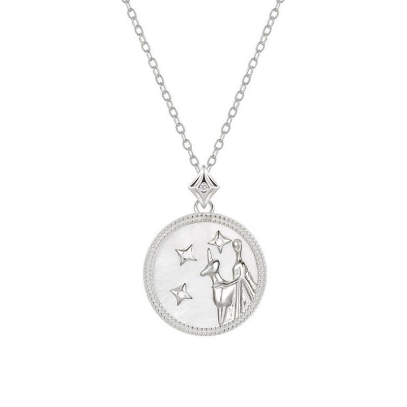 Round Shape Birthday Gift Gold Cz Zodiac Virgo Necklace Design