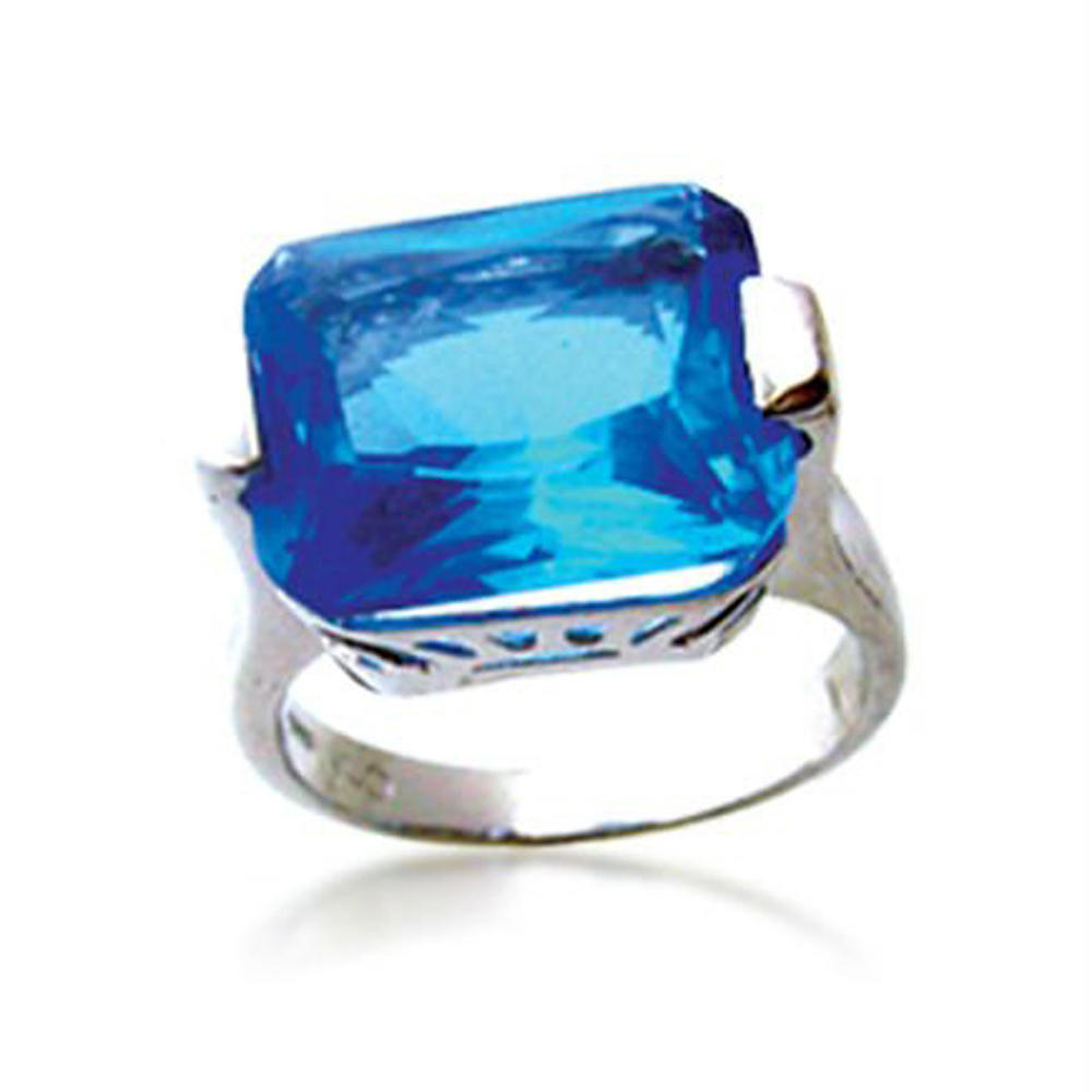 Blue Sapphire Silver Square Stone Solitaire Ring Settings