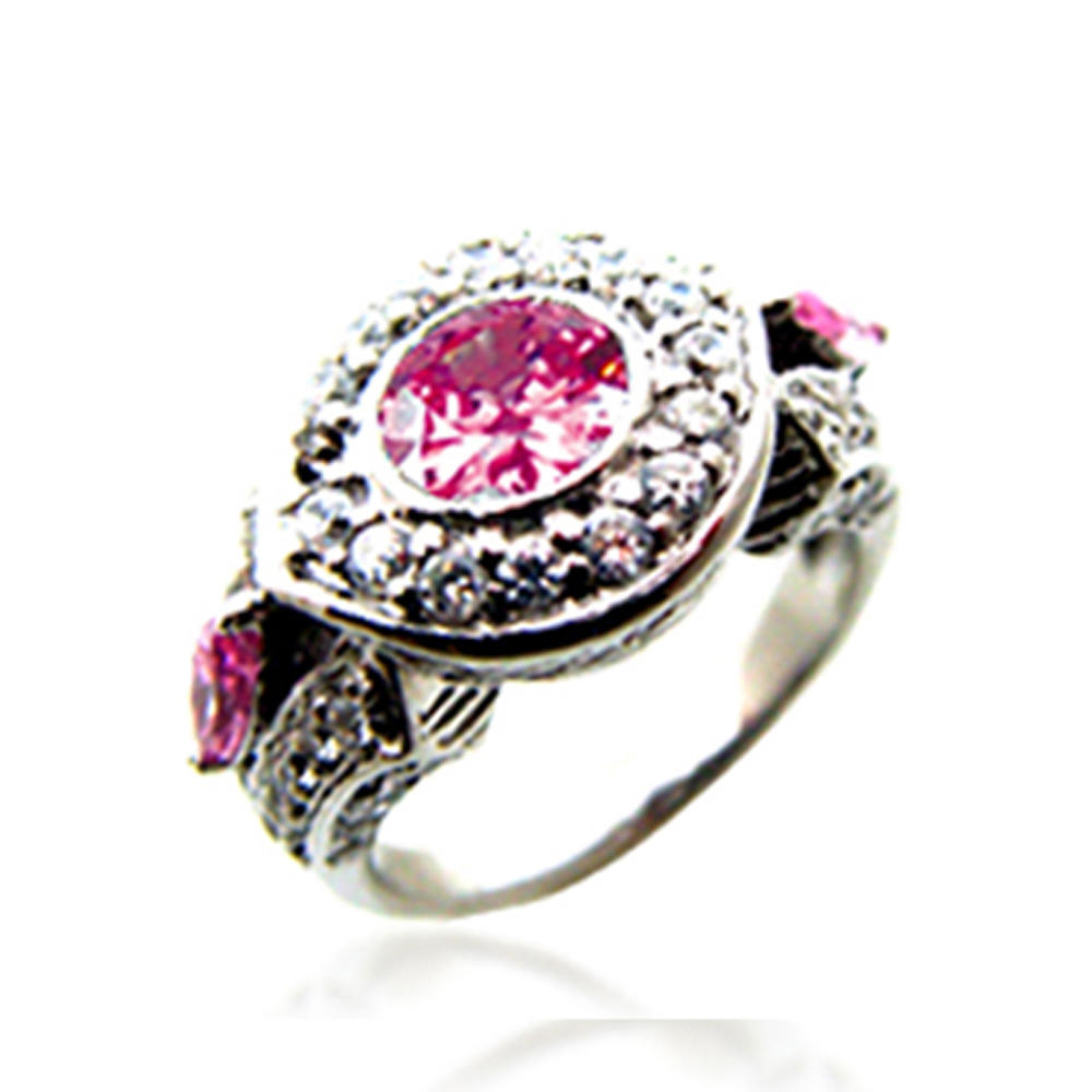 Pink flower design wholesale silver 925 amber ring