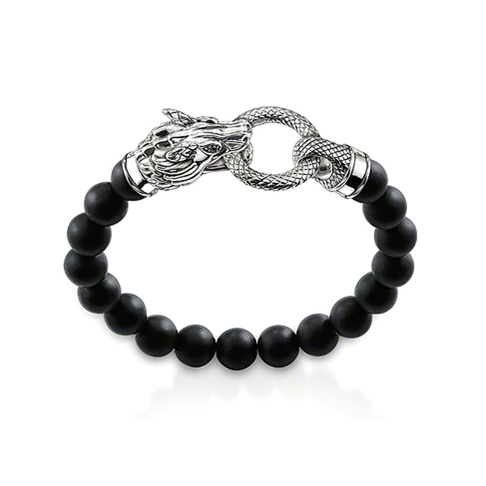 Dragon head clasp engraved silver fashion beads jewelry