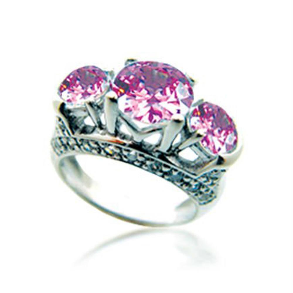 Three pink gemstone wholesale nepal silver rings jewelry