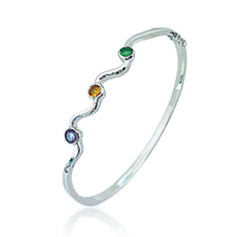 Simple three cubic zircon silver jewelry alpaca bracelet