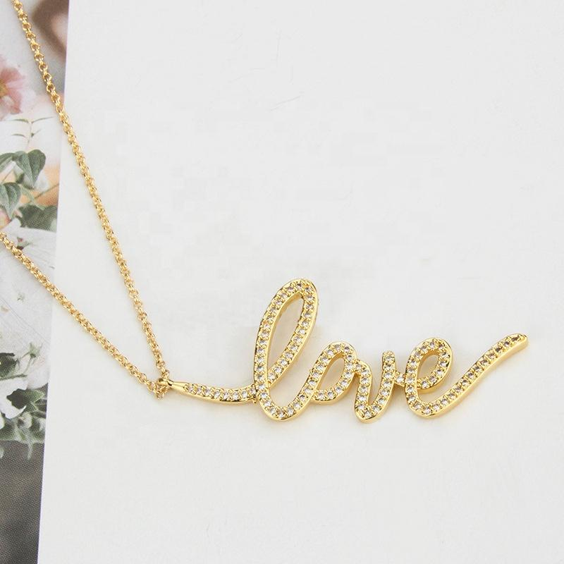 Romantic Love Design Crystal Girlfriend Heart Pendant Necklace Gold