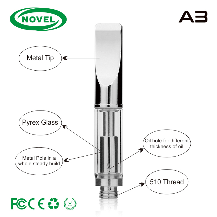 Unique core vape product ceramic oil glass cartridge pure vapor A3 metal vape cartridge cbd oil cartridge 510 glass cbd atomizer