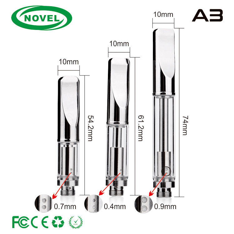 pyrex glass cbd vape cartridge /metal tip 0.5ml,0.1ml glass cbd cartridge in stock/ 510 cbd vaporizer pen atomizer