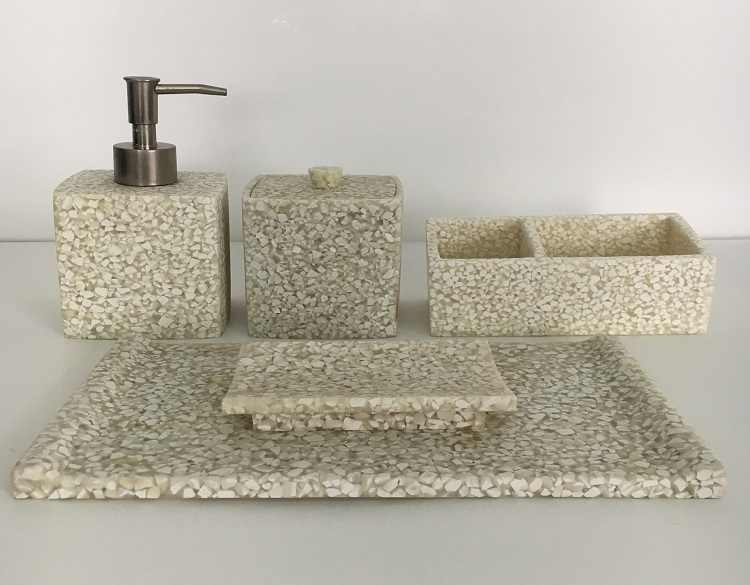 Modern DesignHotel Sand Stone Resin Bathroom Accessory Set Soap Dish