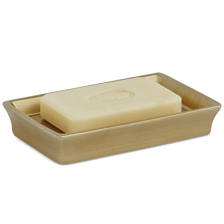 Hotsell Custom Brushed Gold Printed Poly Resin Bathroom Soap Dish