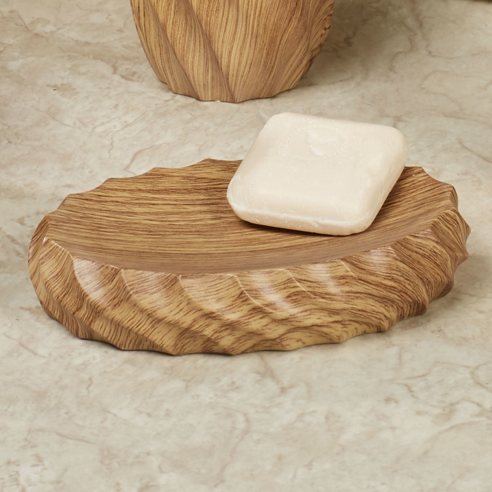 Polyresin Wood Texture Hotel Bathroom Set For Soap Dish