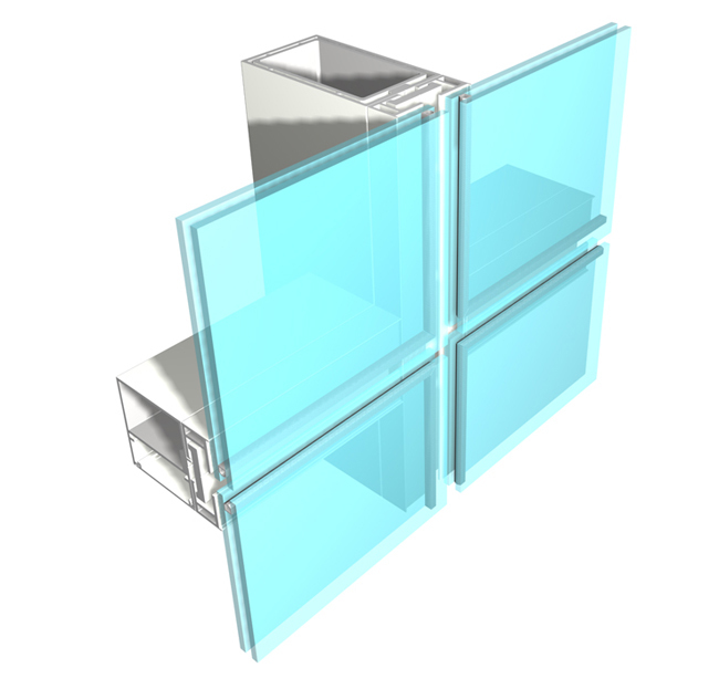 Economical System2 INx 4-1/4 IN to 7-3/4 INField Glazed Shear Block Construction Curtainwall