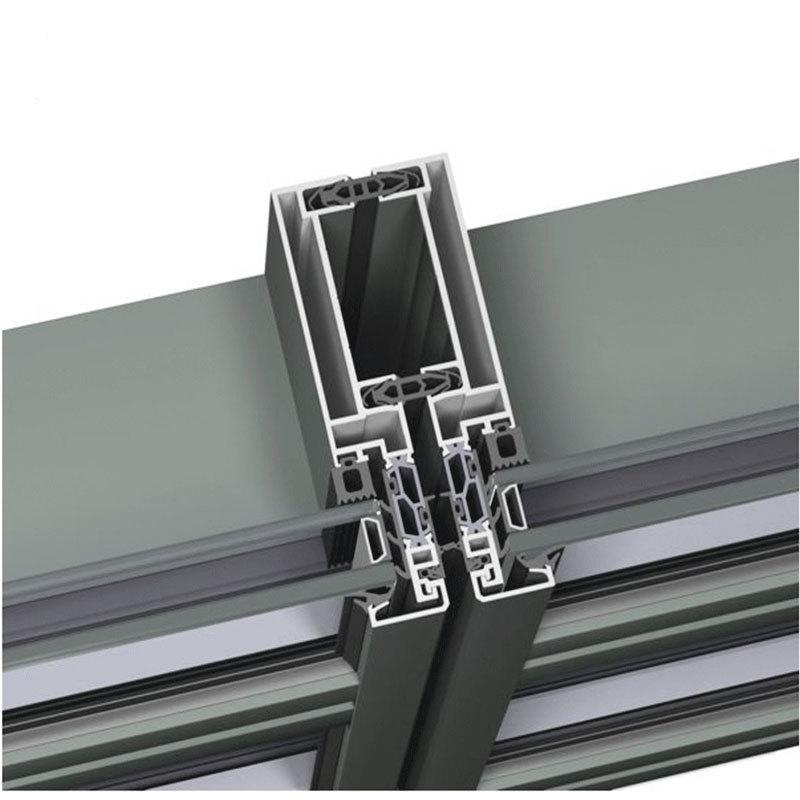 Building Exterior Low-E Glass Aluminum Facade Curtain Wall System