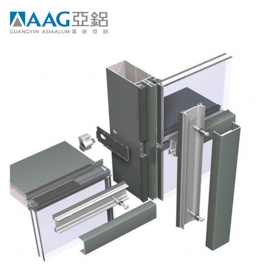 Visible frame aluminum curtain wall profile,glass curtain wall