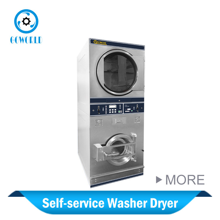10KG coin operated stack washer dryer commercial laundry machine for North Korea market