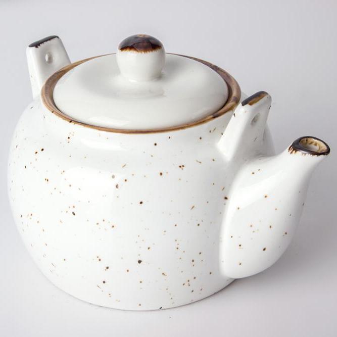 chip resistance color glazed hotel restaurant mini tea pot with lid