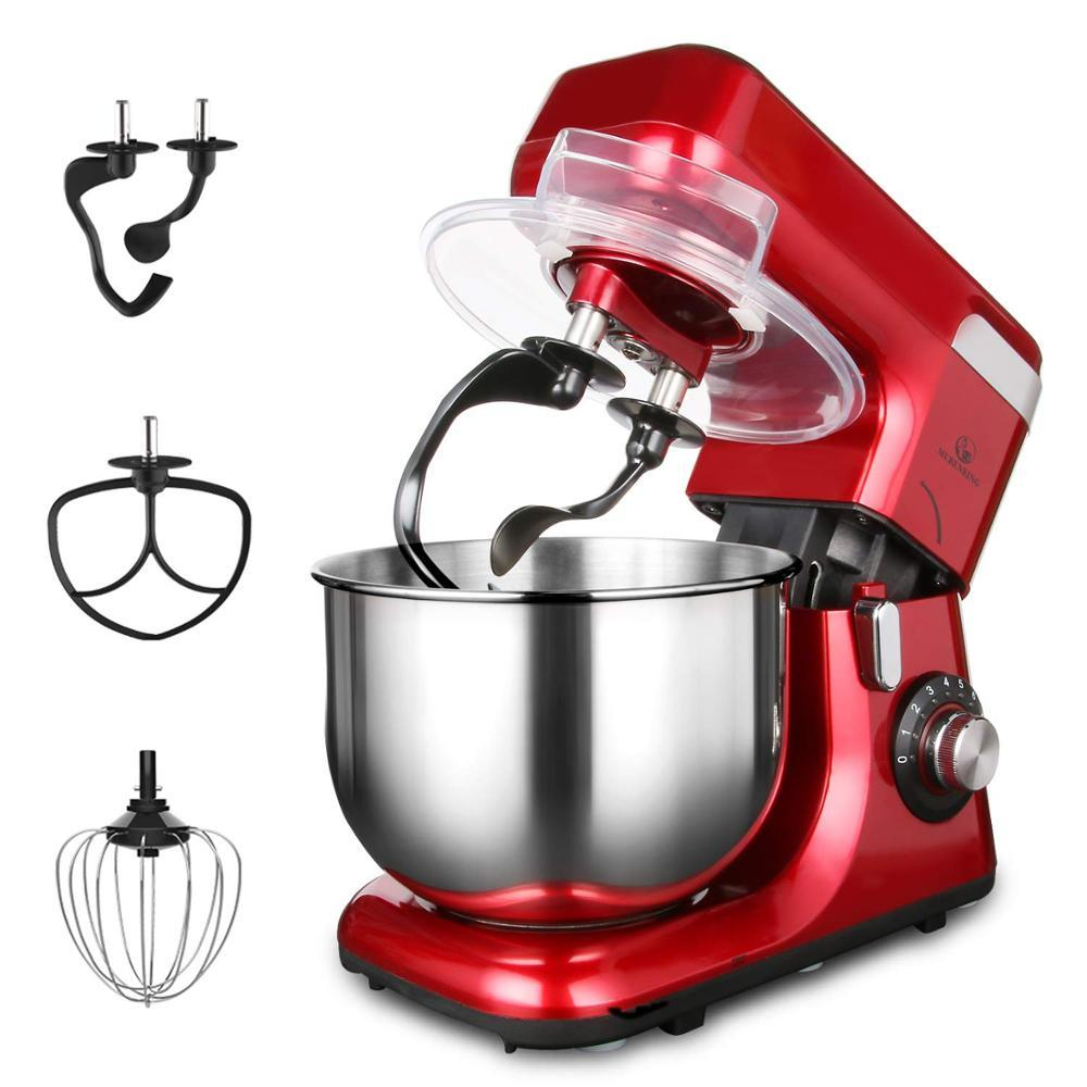 MURENKING 5.5L Dough Kneading Machine with Stainless Steel Bowl Flat Beater Hook mixer