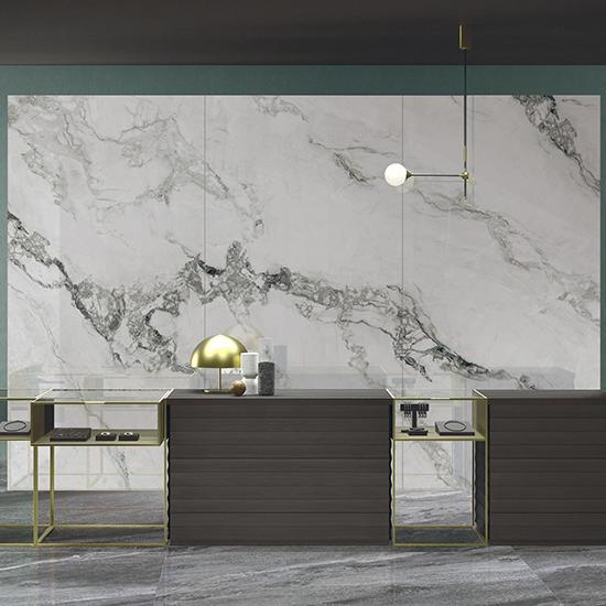 Swan Lake White Ceramics Table Top Marble Kitchen Bathroom Polished Furniture Marble porcelain Shower Big Size Slab Tiles