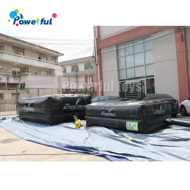 Portable for quick placement inflatable rescue jumping cushion